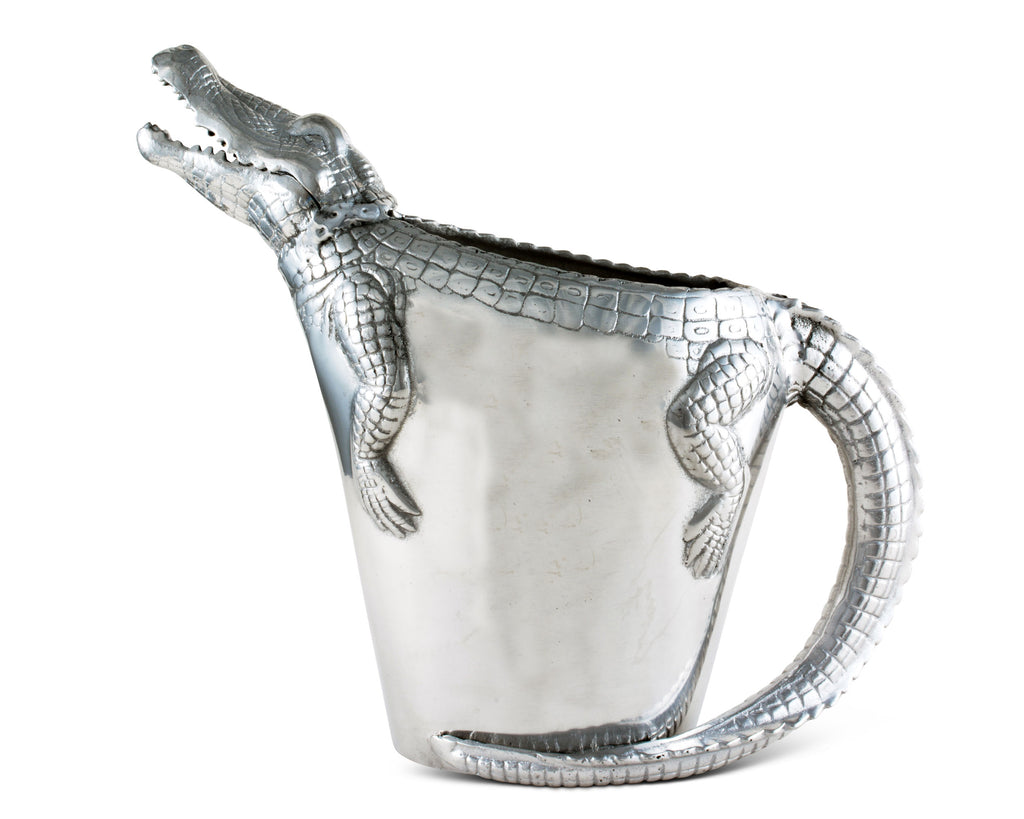 Arthur Court Alligator Pitcher Water Jug for Hot/Cold Water, Ice Tea and Juice Beverage Tropical Cajun Croc Gator Styling 12 Inch Tall