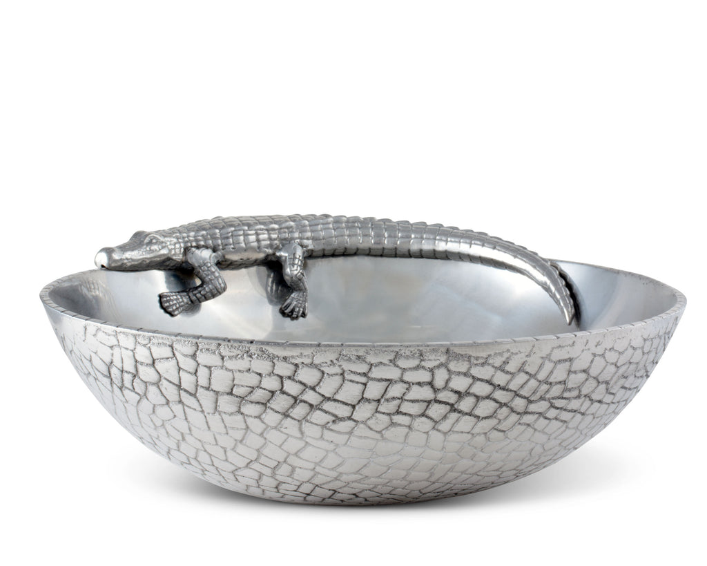 "Arthur Court Designs Aluminum Alligator Figural 12"" Bowl"
