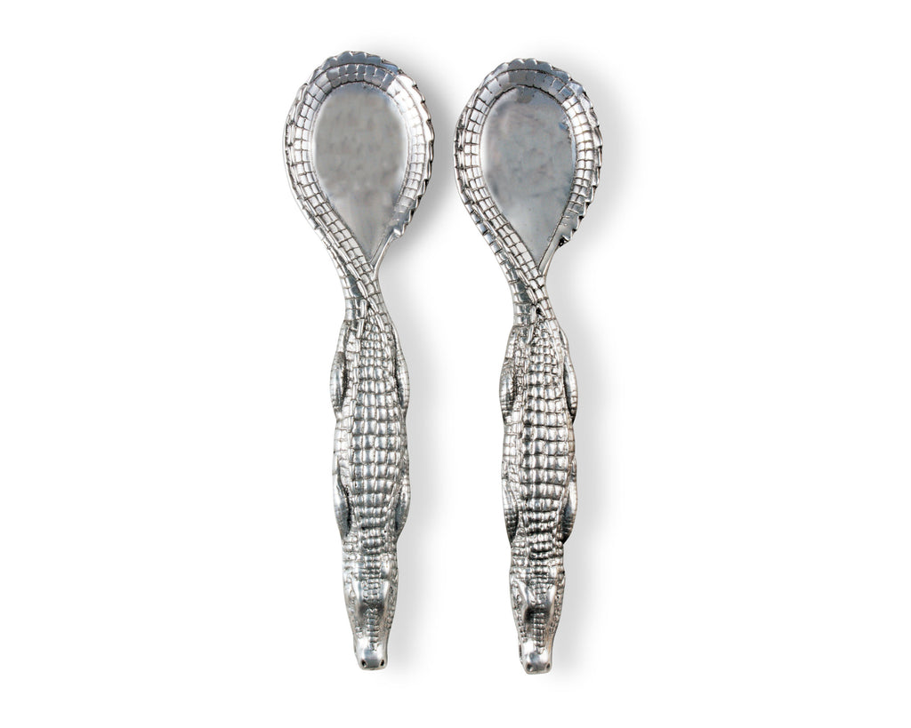 Arthur Court Designs Aluminum 12.5 inch Alligator Figural Serving Set
