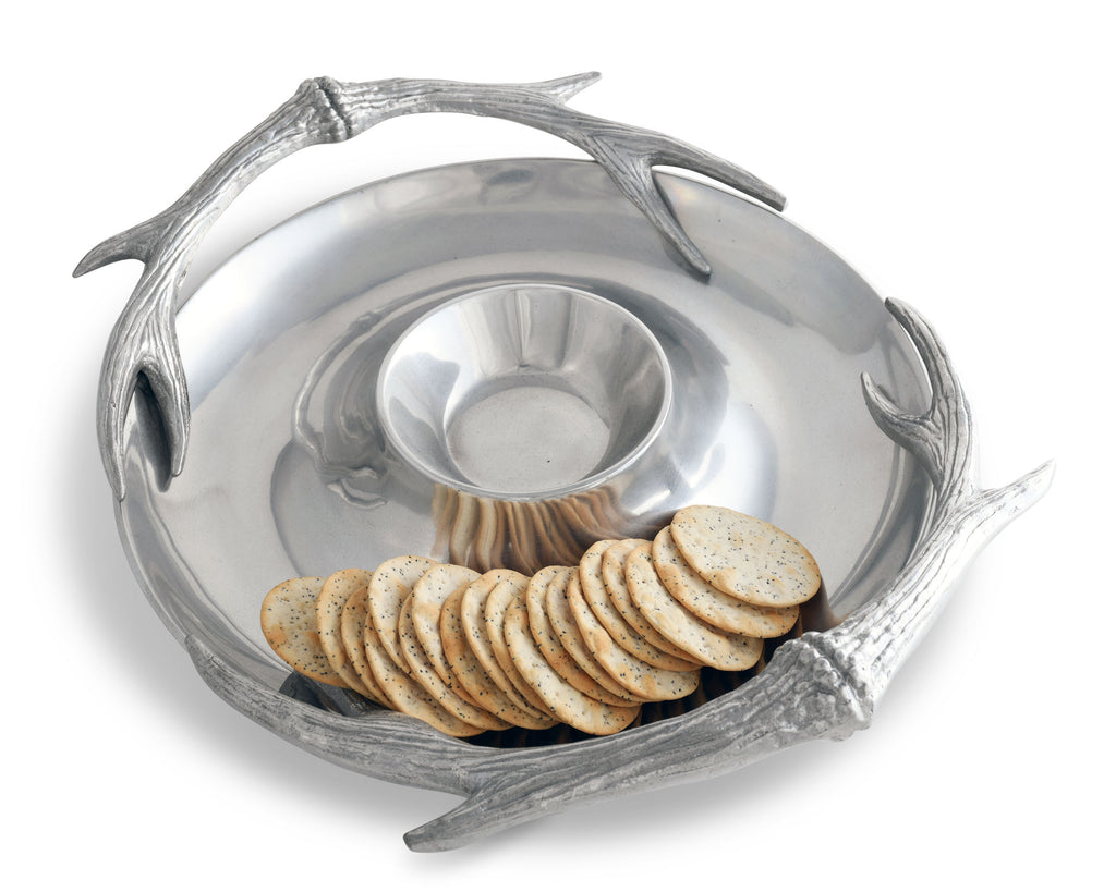 Arthur Court Rustic Cabin Chip and Dip Platter in Antler Pattern Sand Casted in Aluminum with Artisan Quality Hand Polished Designer Tanish-Free 15 inch diameter