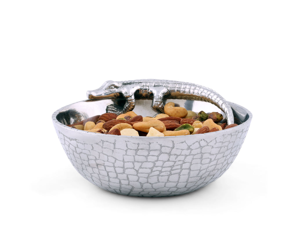 Arthur Court Designs Aluminum Metal Alligator Skin Pattern Nut / Snack / Side Bowl 6""