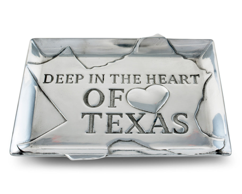 Arthur Court Designs Aluminum Deep in the Heart of Texas Food Service Tray, Desktop Storage Organizer, Catchall, Valet, Nightstand or Dresser 9.5 Inch Long