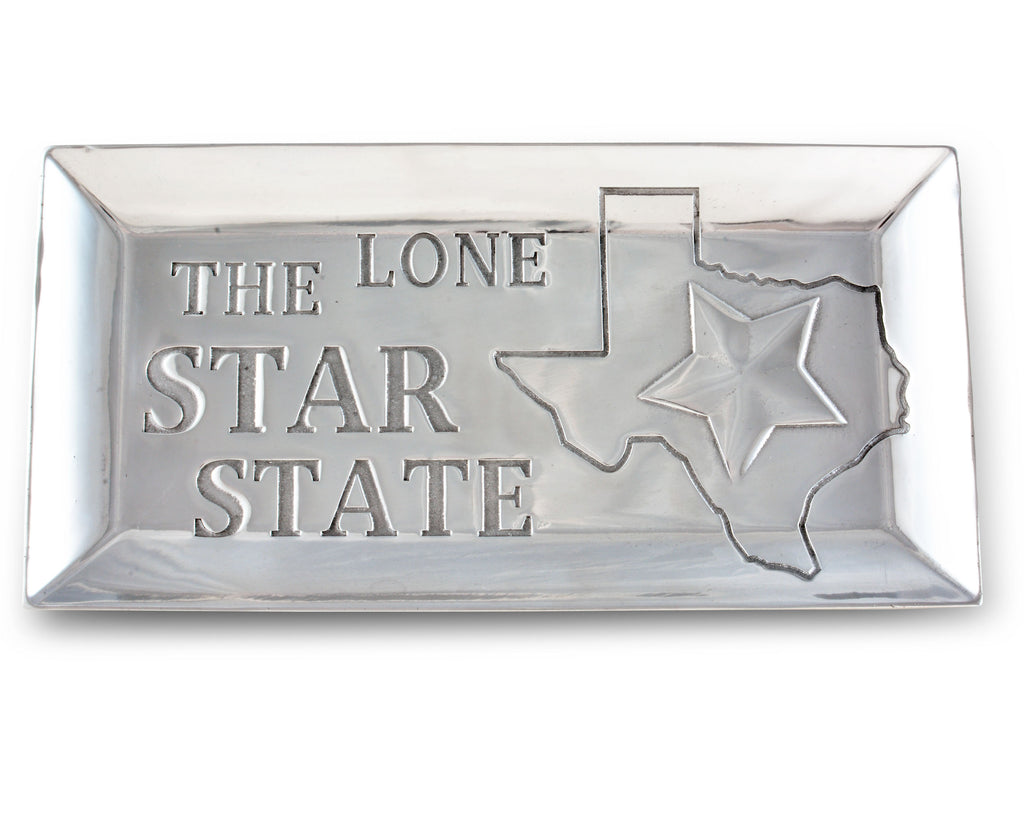 Arthur Court Designs Aluminum Texas Lone Star State Food Tray / Platter / Catch All 6 Inches x 12 Inches