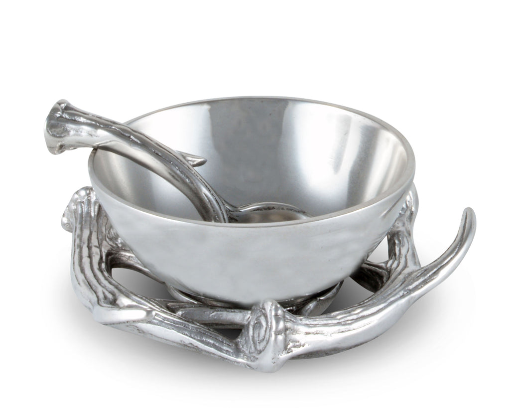 "Arthur Court Designs Aluminum 2-pieces Antler Condiment Server Bowl 5.25"" Diameter - Bowl and Spoon"