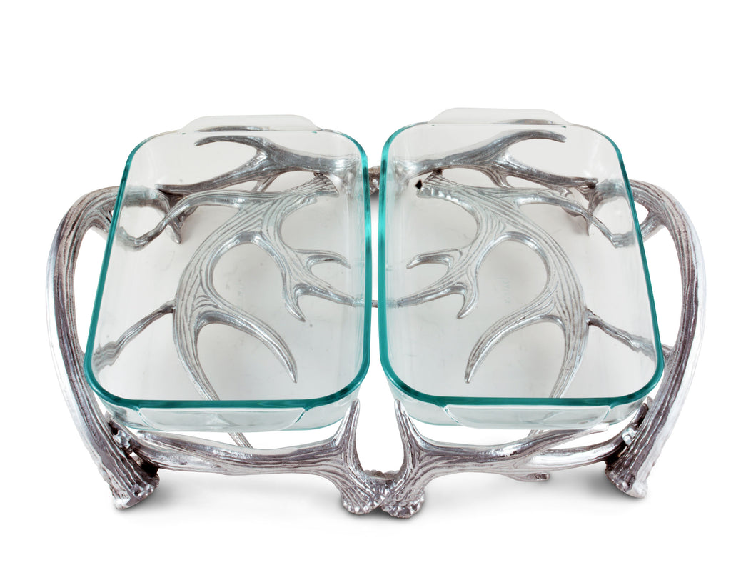 Arthur Court Antler Pyrex Holder Double 2qt 103912