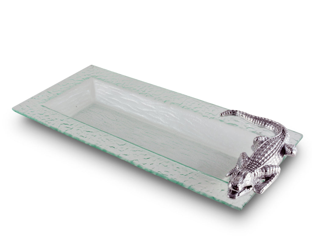 "Arthur Court Designs Aluminum Alligator Oblong Serving Food Tray 18"" x 8"""
