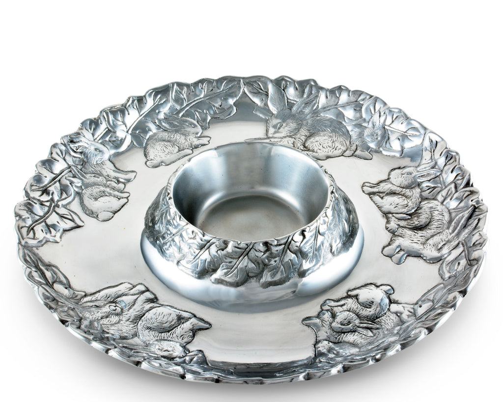 Arthur Court Designs Metal Easter Chip and Dip Platter in Bunny Pattern Sand Casted in Aluminum with Artisan Quality Hand Polished Designer Tanish-Free 14 inch diameter