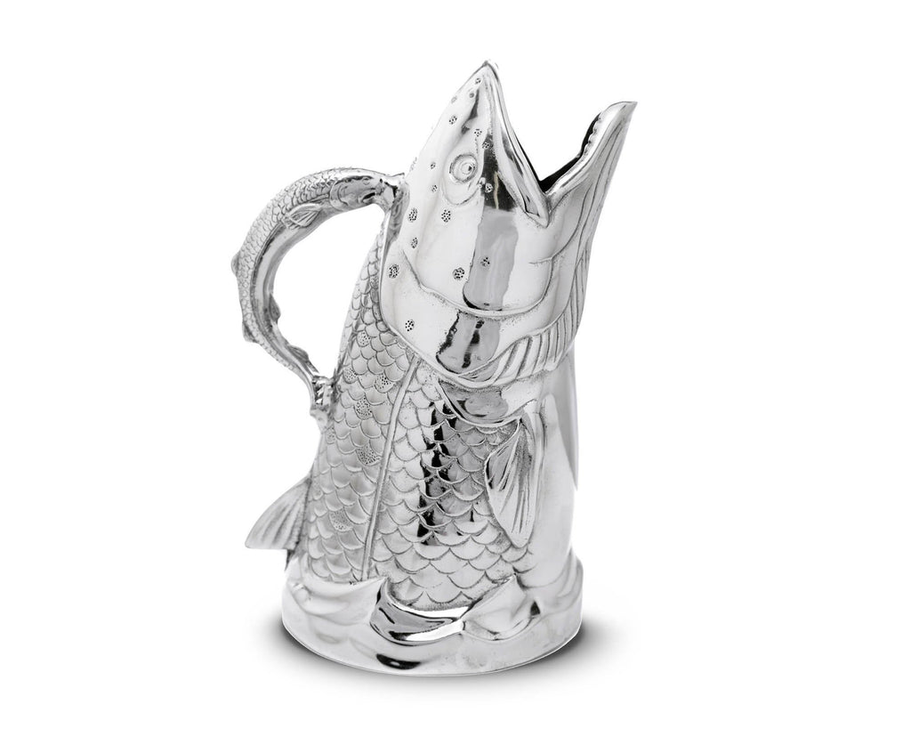 Arthur Court Designs Aluminum Salmon Fish Pitcher Water Jug for Hot / Cold Water, Ice Tea and Juice Beverage Gift for Father Day 12 Inch Tall