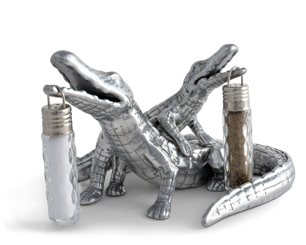 "Arthur Court Designs Aluminum 8 inch Long / W: 5"" / H: 4""Alligator Salt and Pepper Set"