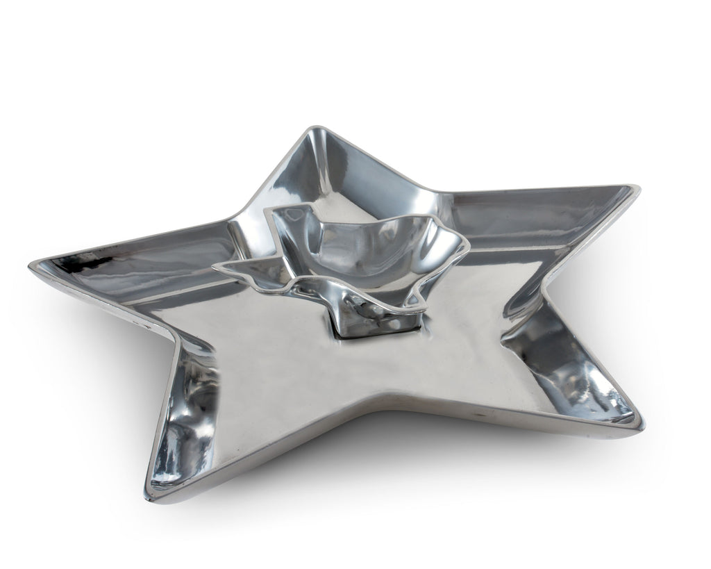 Arthur Court Metal Western Texas Star Chip and Dip Platter Sand Casted in Aluminum with Artisan Quality Hand Polished Designer Tanish-Free Ranch Decor 14 Inch Length
