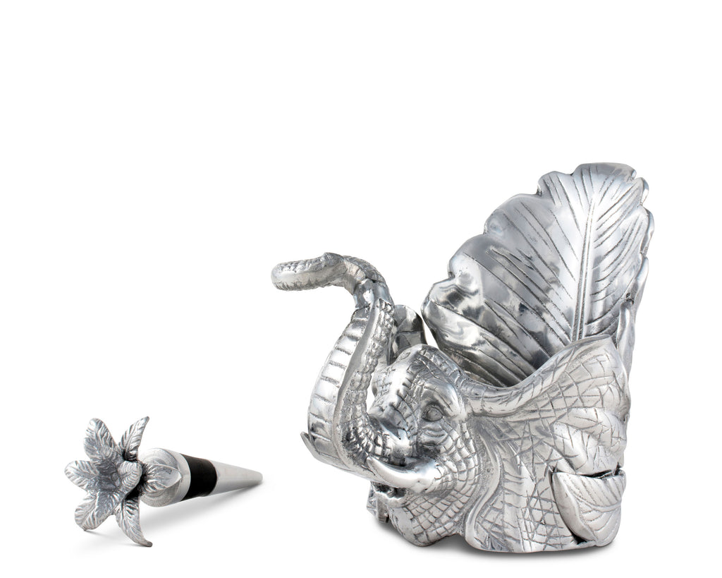Arthur Court Elephant Wine Coaster and Stopper Set 104048