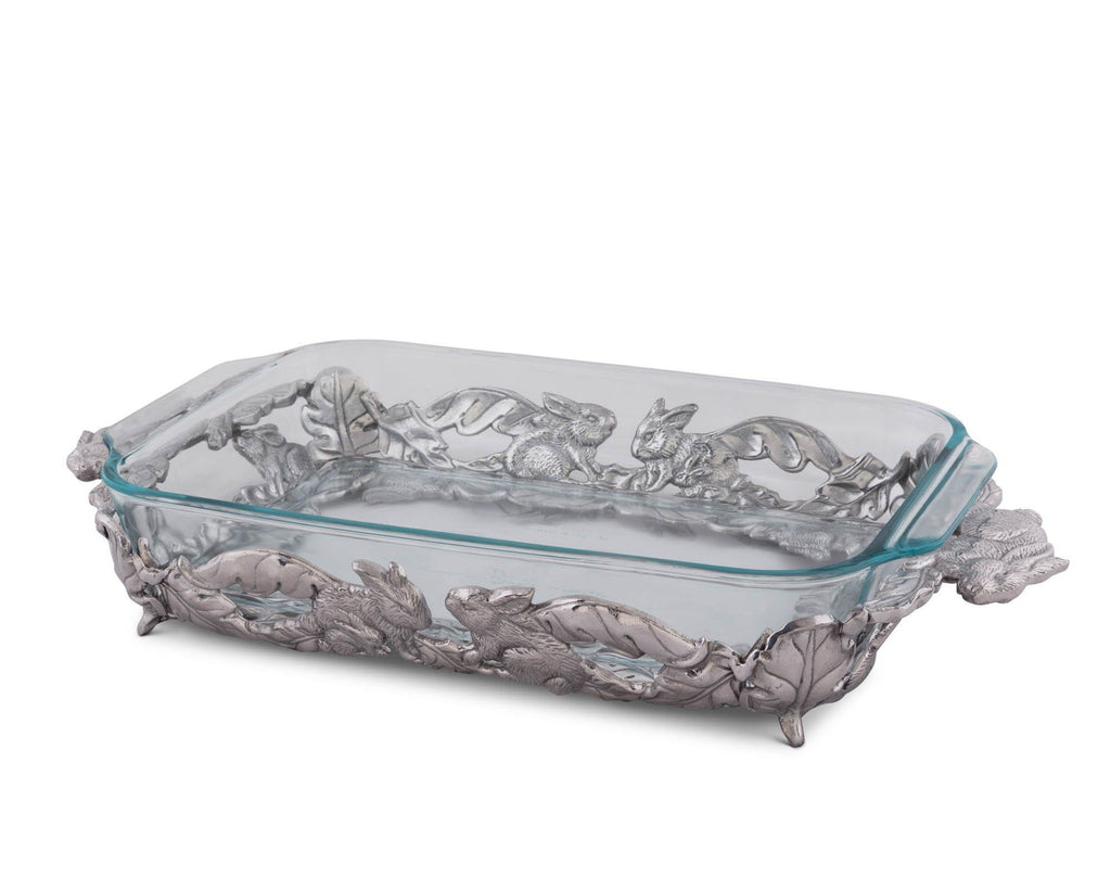 Arthur Court Silver Metal Bunny Pattern Pyrex Casserole Dish Holder Trivet for 3 Quart Pyrex - Easter Table Service of Glass Baking Dish 18""