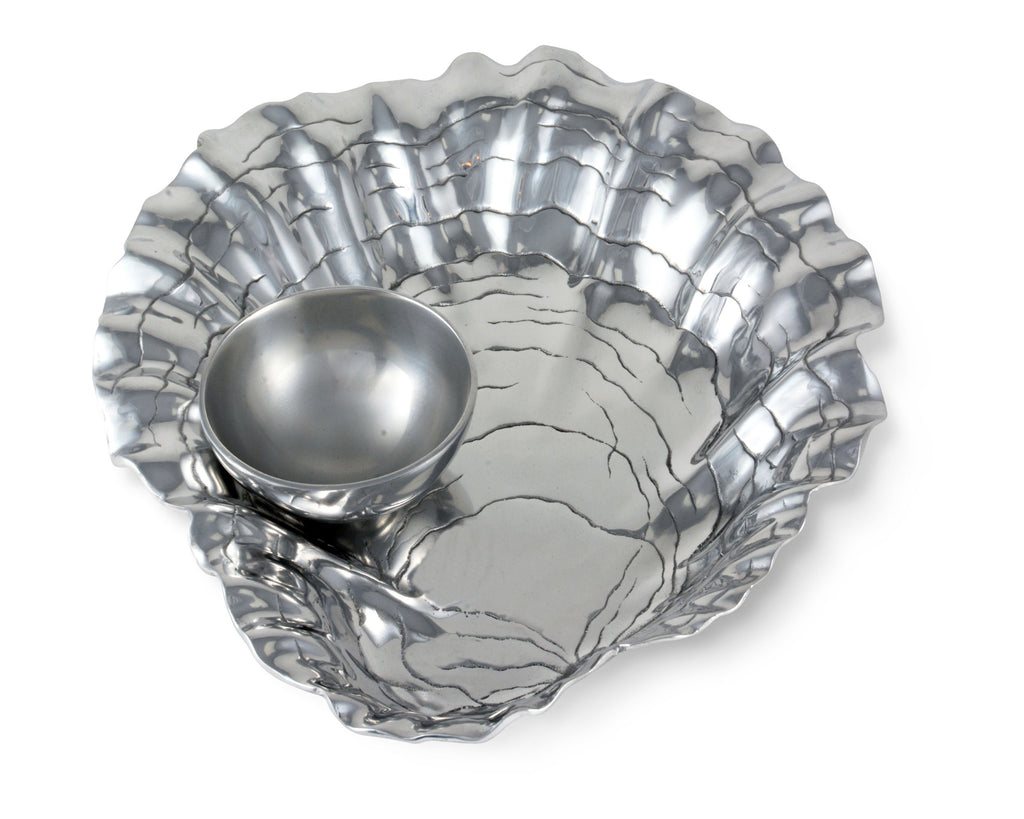 "Arthur Court Aluminum Metal Oyster Chip Bowl with Pearl Dip Bowl - Formal and Everyday Coastal decor 15.5"" Diameter"