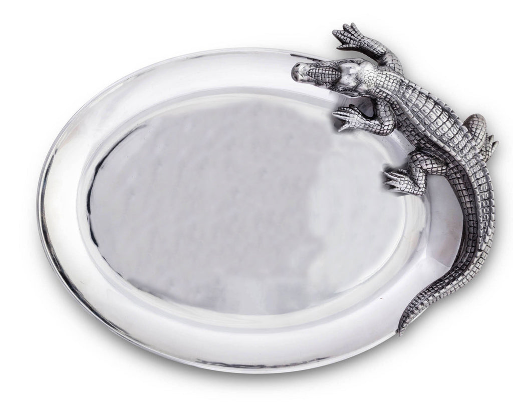 "Arthur Court Designs Aluminum Alligator Oval Platter 14"" x 19.5"""