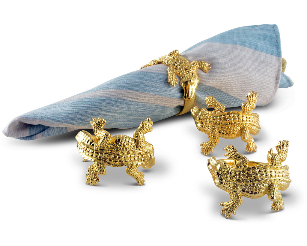 Arthur Court Gold Plated Alligator Napkin Rings Set of 4  Artisan Crafted Designer Rings