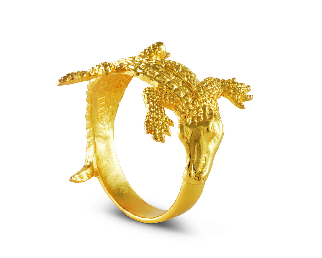 Arthur Court Gold Alligator Napkin Rings 115J12