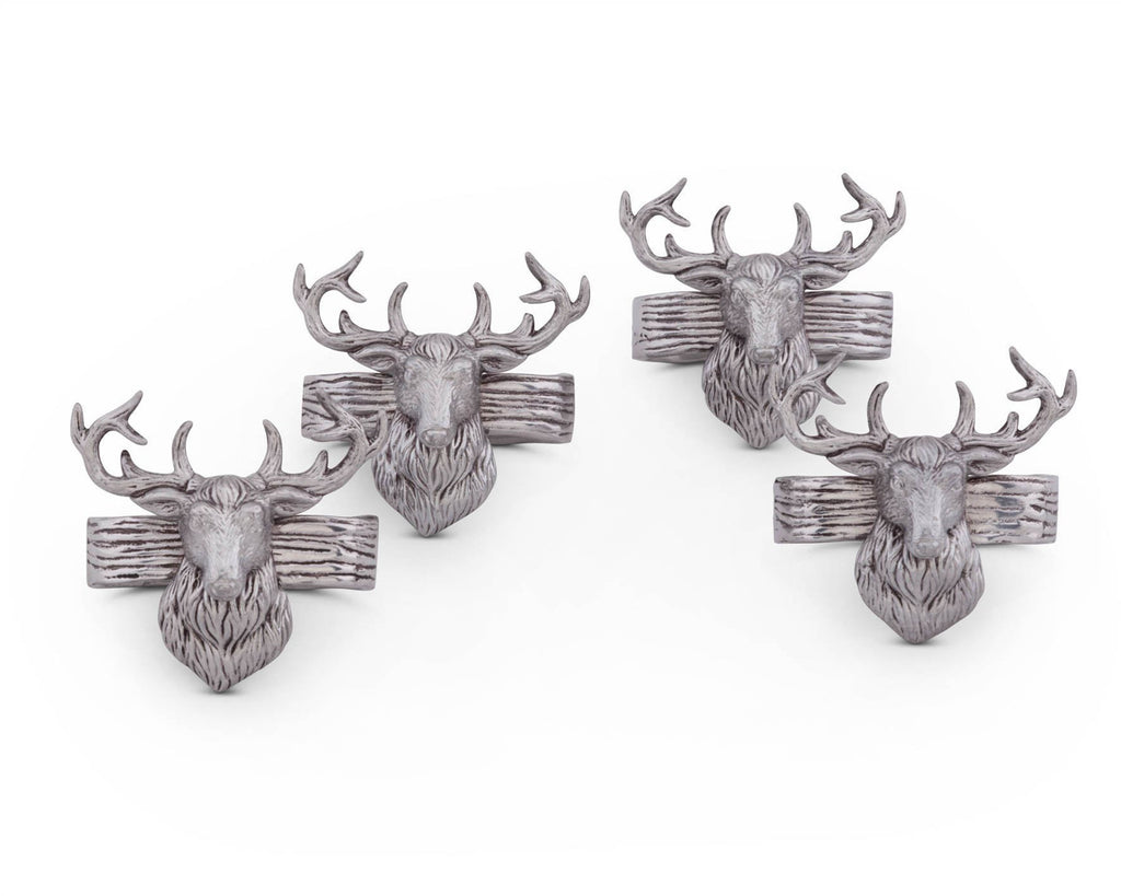 "Arthur Court Aluminum Napkin Rings with Elk Head Rustic table 3"" tall; Lodge Style Collection  Set of 4  Artisan Crafted Designer Rings"