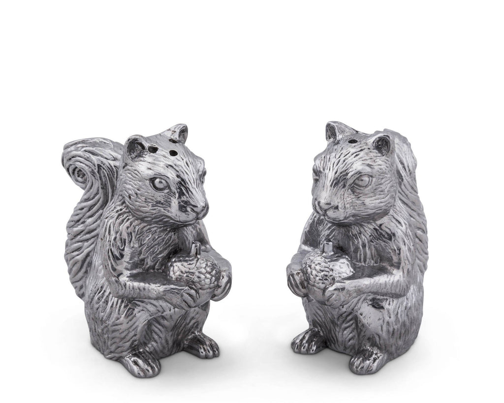 "Arthur Court Aluminum Squirrels Salt & Pepper Set  4"" tall"