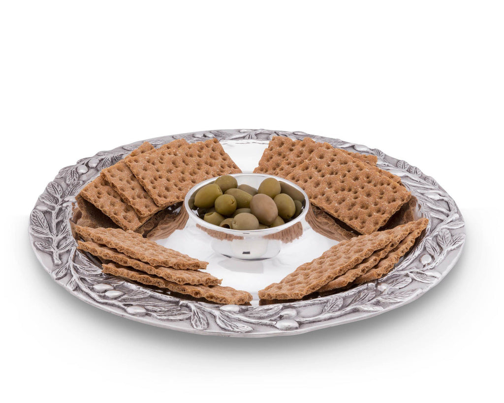 Arthur Court Metal Olive Tray Platter Sand Casted in Aluminum with Artisan Quality Hand Polished Designer Tanish-Free Mediterranean Décor 15.5 Inch Length