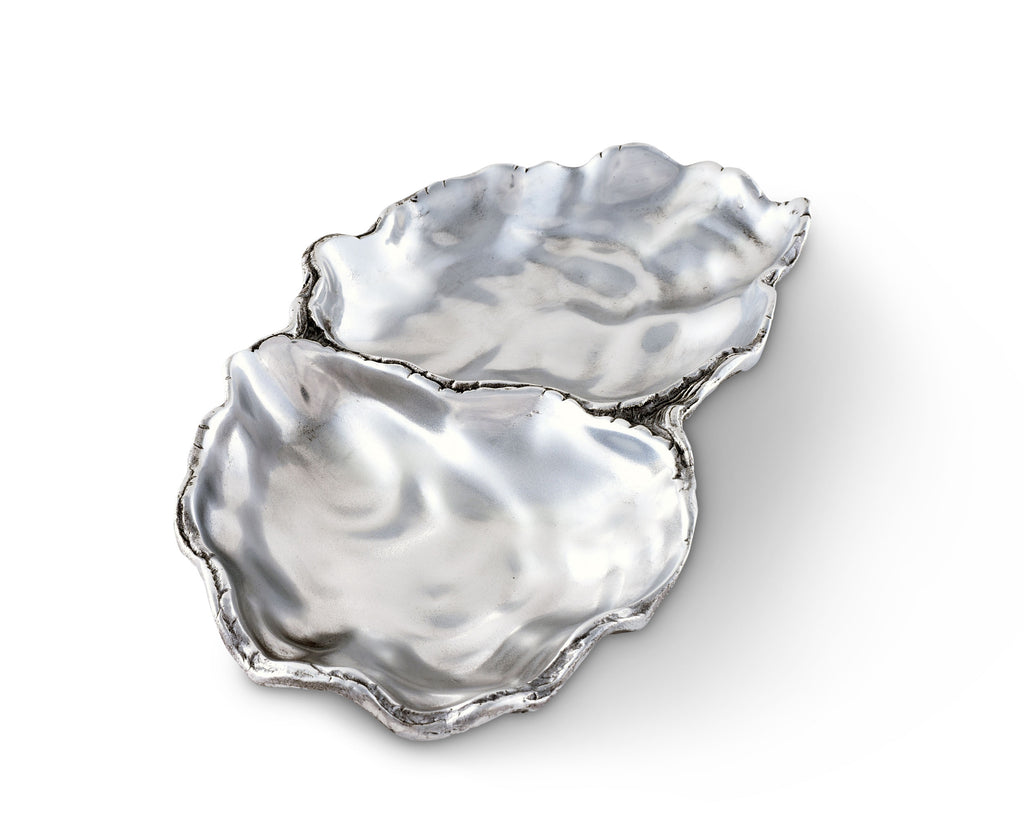Arthur Court Aluminum Oyster Vanity Tray, Desktop Storage Organizer, Catchall, Valet, Nightstand or Dresser / Serving Food Tray Coastal Décor - 10 Inch by 6 Inch