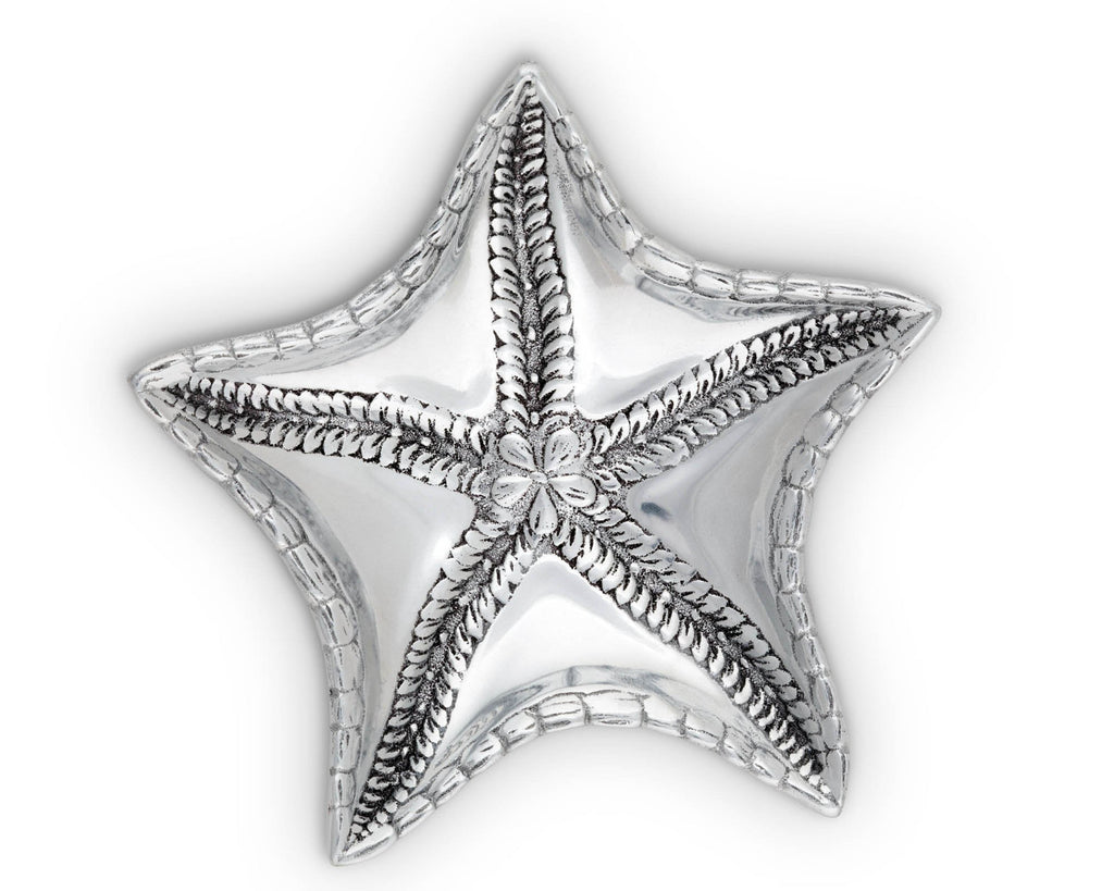 Arthur Court Aluminum Starfish Vanity Tray, Desktop Storage Organizer, Catchall, Valet, Nightstand or Dresser Serving Snack Tray - Ocean Décor 7 Inch x 8 Inch