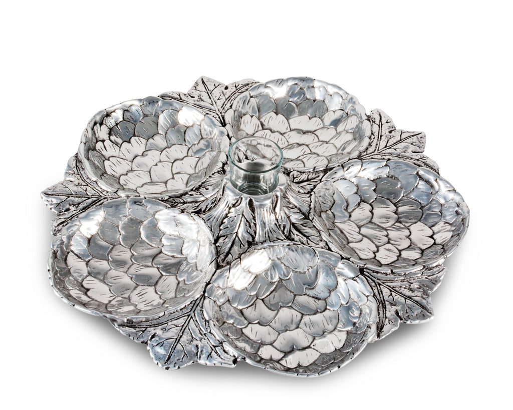 Arthur Court Artichoke Pattern Large 5 Section Snack Tray Large Durable Metal Silver - Heirloom Quality