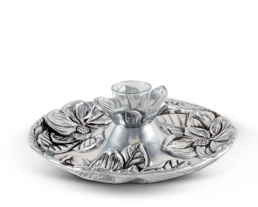 "Arthur Court Aluminum Metal Magnolia Flower Pattern Tidbit Cheese Hors d'oeuvres Snack Tray with Glass for Toothpick - Durable Metal Entertaining Platter 10.5"" Diameter x 3.25"" Tall"