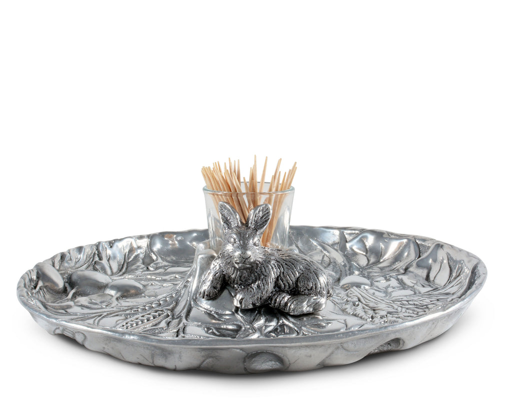 "Arthur Court Aluminum Metal Rabbit Bunny Pattern Tidbit Cheese Hors d'oeuvres Tray with Glass for Toothpick - Durable Metal Silver Easter Entertaining 10.5"" Diameter x 2.5"" Tall"