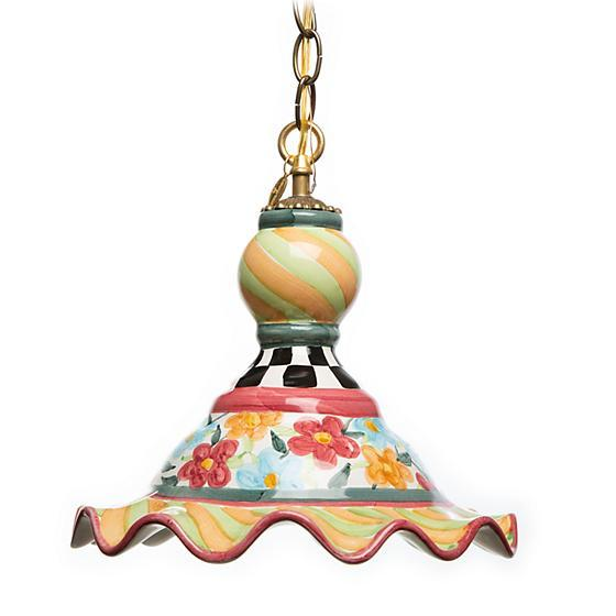 Mackenzie Childs Painted Garden Pendant Lamp Medium 13037-178