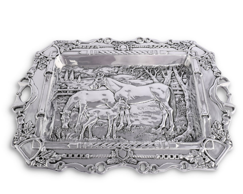 Arthur Court Grazing Horses Parlor Tray Equstrain Display Statement