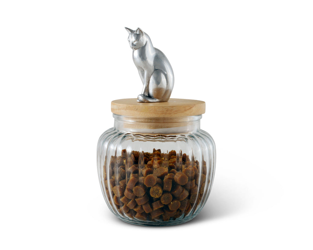 Arthur Court Cat Treat Jar - Pet Snack Glass Jar with Sealed Lid