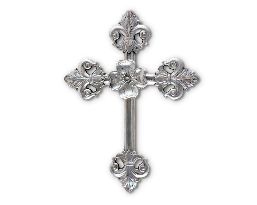 Arthur Court Designs Aluminum Wall Hanging Christian Cross Symbol of Christian Faith 12 Inches Tall