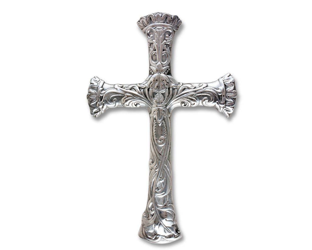 Arthur Court Designs Aluminum Wall Metal Hanging Christian Cross - Symbol of Faith - 14 Inches Tall