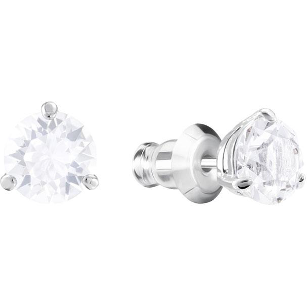Swarovski Solitaire Pierced Earrings White Rhodium Plating 1800046