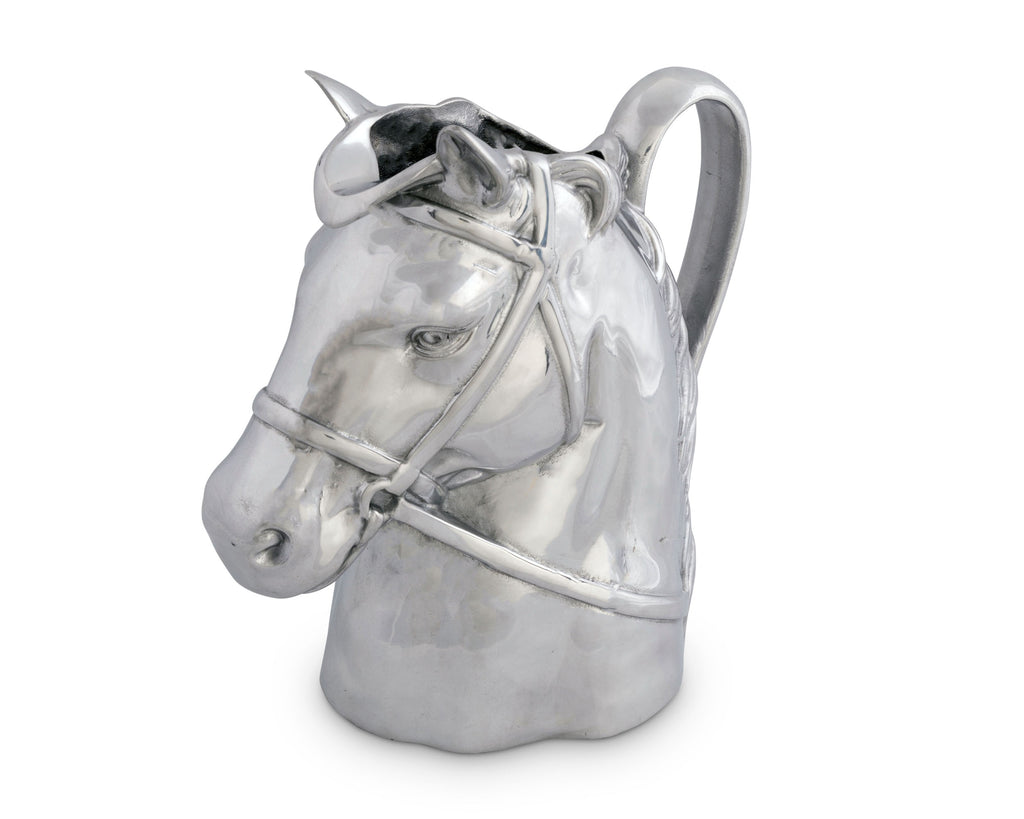 Arthur Court Designs Aluminum Thoroughbred Race Horse Pitcher Water Jug for Hot/Cold Water, Ice Tea and Juice Beverage 10 Inch Tall