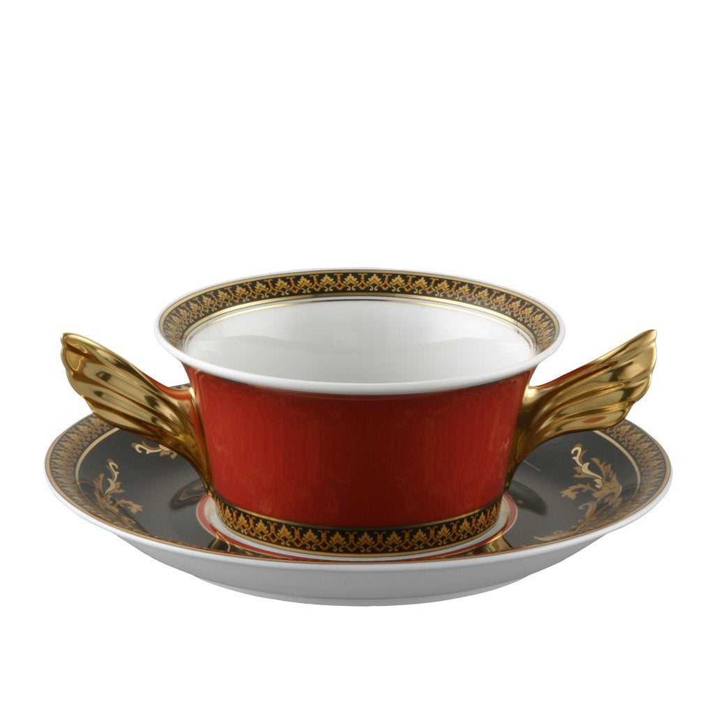 Versace Medusa Red Cream Soup Cup & Saucer 19300-409605-10420
