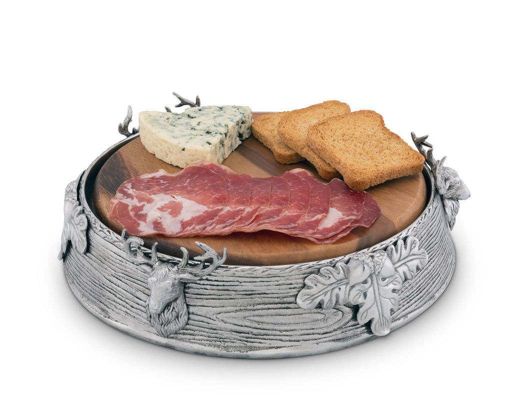 "Arthur Court Aluminum Alloy Pedestal Cheese / Cake Stand with Removable Acacia Board; Elk Head Pattern; 10"" Diameter"