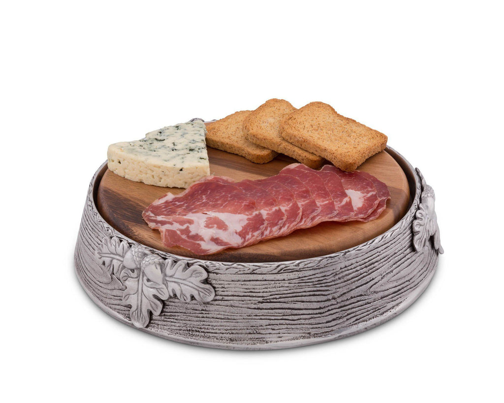 "Arthur Court Wood Cheese / Serving Board with Acorn Oak Leaf Pattern Aluminum Pedestal; 10"" Diameter"