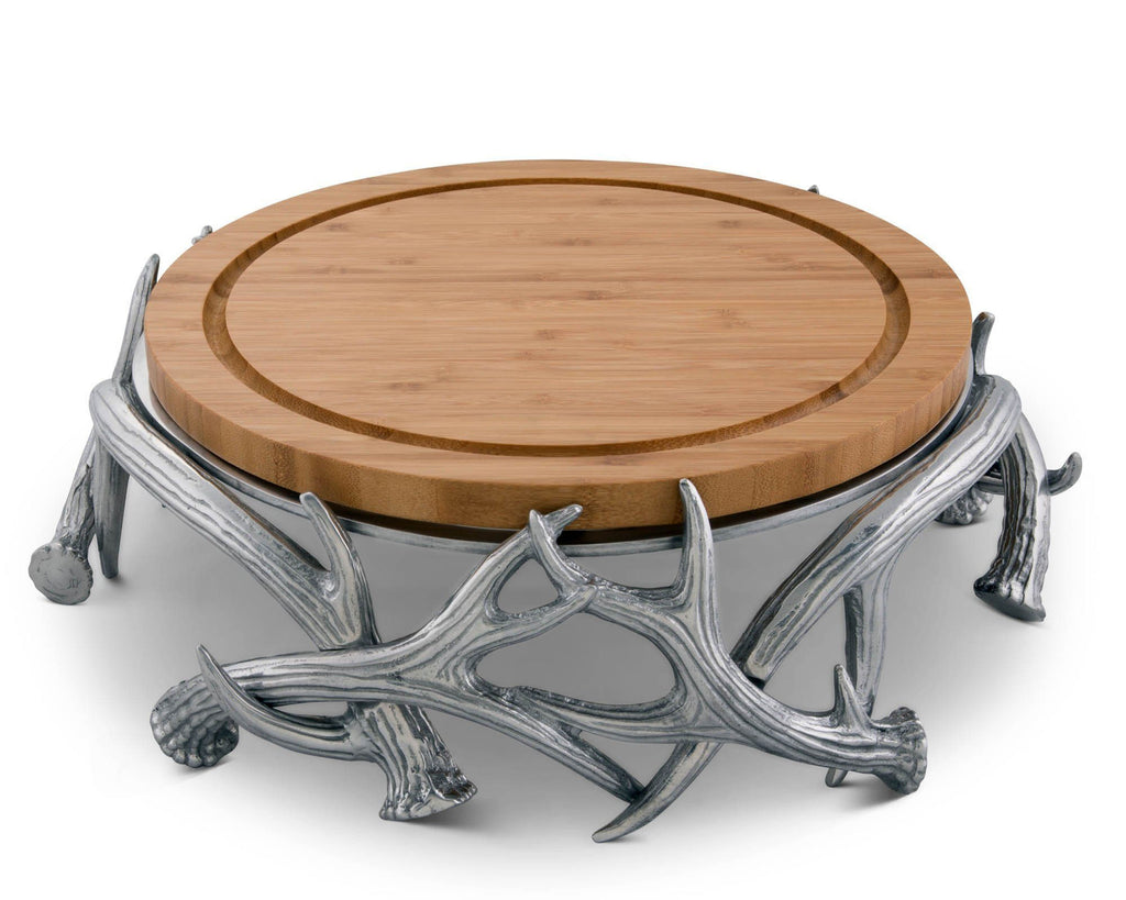 "Arthur Court Designs Aluminum Antler Bamboo Cheese Board Pedestal Charcuterie Platter & Serving Tray Diameter: 13"" Tall 4"""