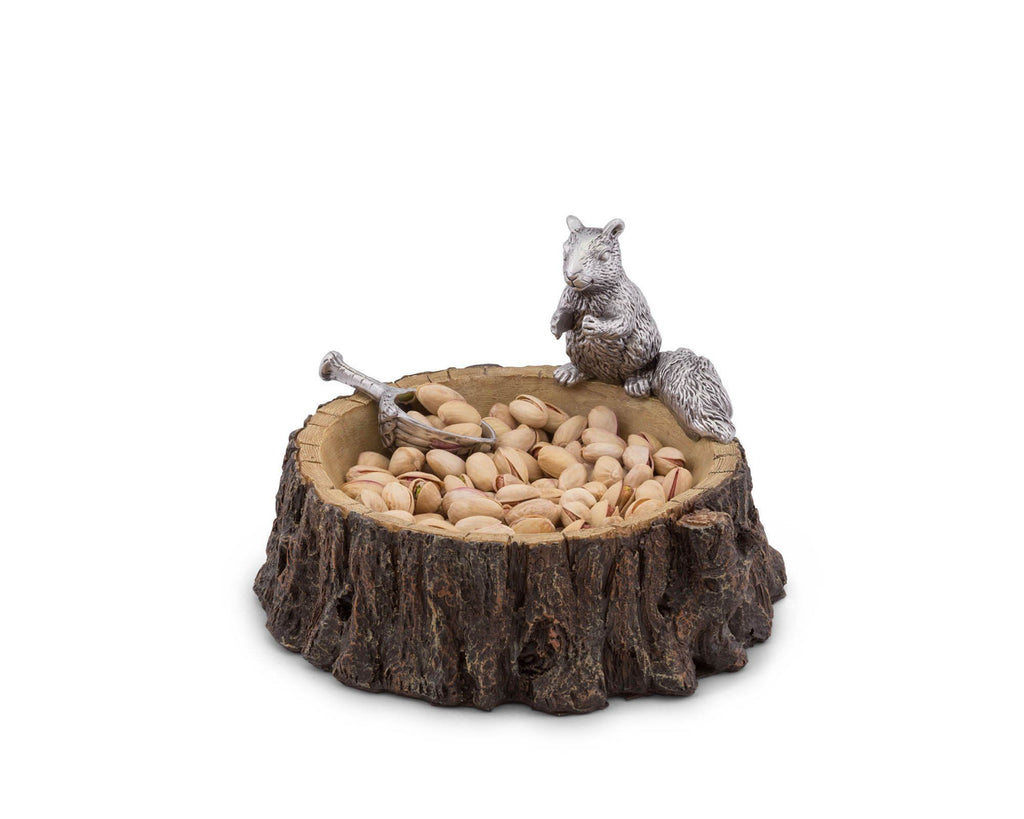 "Arthur Court Designs Aluminum Standing Squirrel on Log Nut / Candy / Snack Bowl Dish 7"" Diameter"