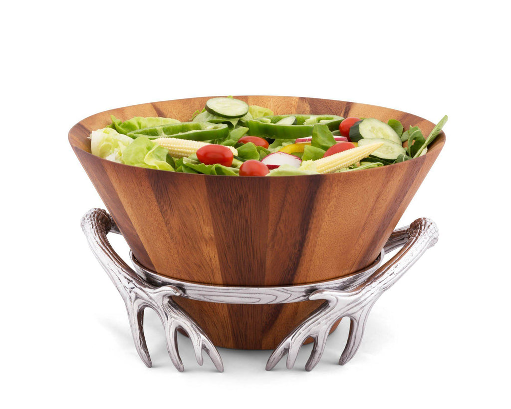 "Arthur Court 7"" Tall Acacia Wood Salad Bowl with Antler Pattern Aluminum Stand"