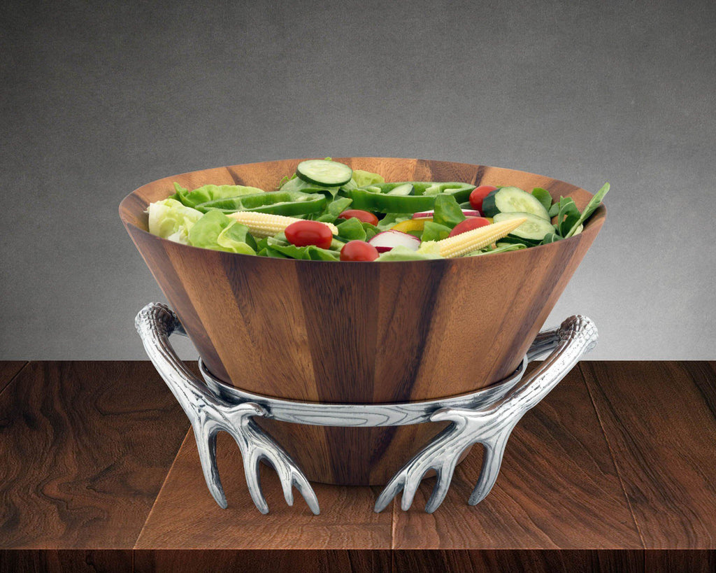 Arthur Court Antler Wood Salad Bowl 218A11
