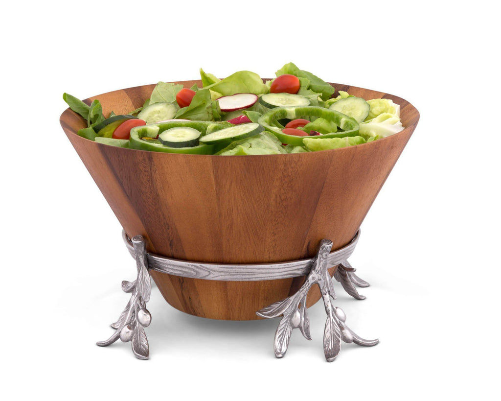 "Arthur Court Acacia Wood Salad Bowl in Metal Stand, Sand-Cast Aluminum Stand in Olive Pattern 7"" tall"