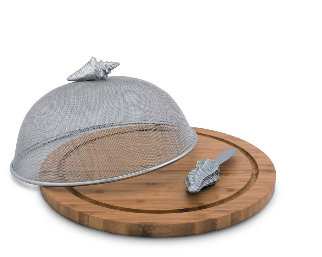 "Arthur Court Conch Shell Ocean Pattern Picnic Mesh Cheese Cover with   Bamboo Cheese Board & Spreader  13"" Board / 6.5"" Tall Screen"