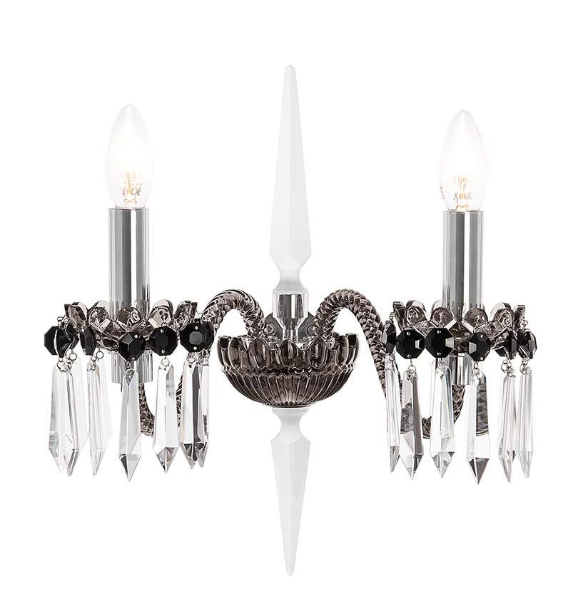 St Louis Crystal Arlequin 2 Light Flannel Grey Satin Finished Sconce