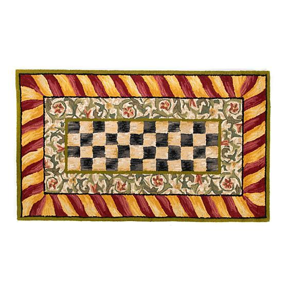 Mackenzie Childs Courtly Check Rug 3x5 Red & Gold 350-41141