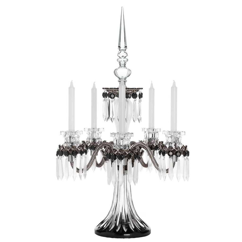St Louis Crystal Arlequin 5C Black Satin Finished Flannel Grey Candelabra