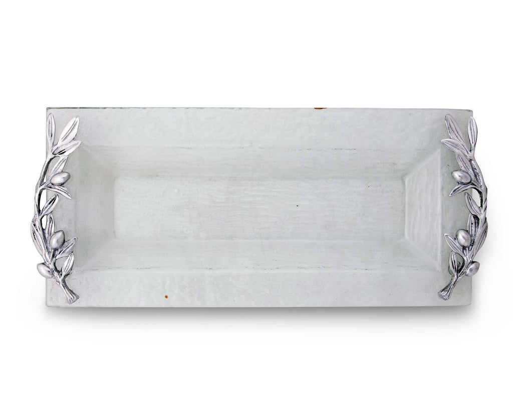 Arthur Court Glass Oblong Cheese Serving Tray with Meta Olive Handles Branch