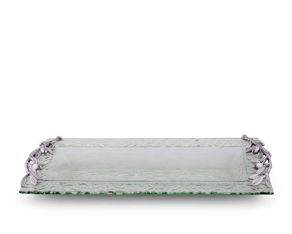 Arthur Court Olive Oblong Glass Serving Tray 412G11