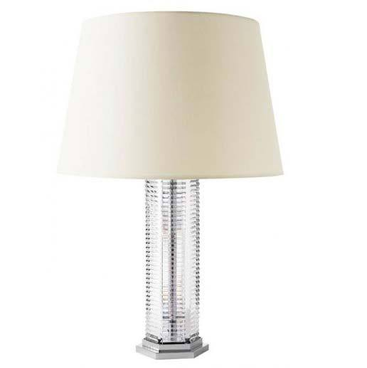 St Louis Crystal Adiante Tall White Lampshade Table Lamp